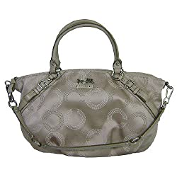 Coach Madison Signature Dotted Sophia Convertiable Satchel Bag Purse 15957 Khaki