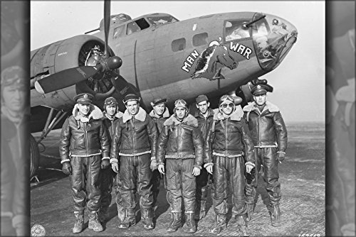 24x36 Poster; The Crew Of The Boeing B-17 F-5-Bo Flying Fortress (Sn 41-24399) Man-O-War From The 323Rd Bomb Squadron, 91St Bomb Group, 8Th Air Force 1942