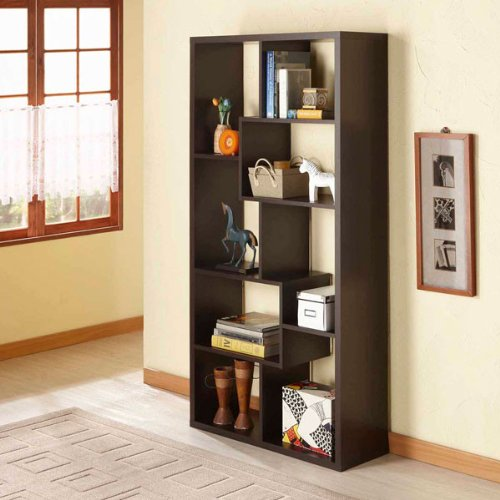 Verena Walnut Contoured Leveled Display/Bookcase