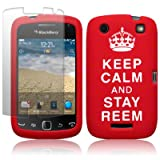 BLACKBERRY CURVE 9380 RED/WHITE &#34;KEEP CALM AND STAY REEM&#34; LASERED SILICONE SKIN CASE / COVER / SHELL + SCREEN PROTECTOR PART OF THE QUBITS ACCESSORIES RANGEby Qubits