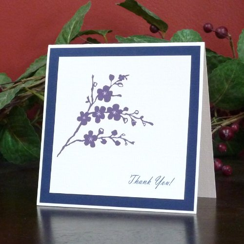 Handmade Purple Vine Thank You Card Pack of 10