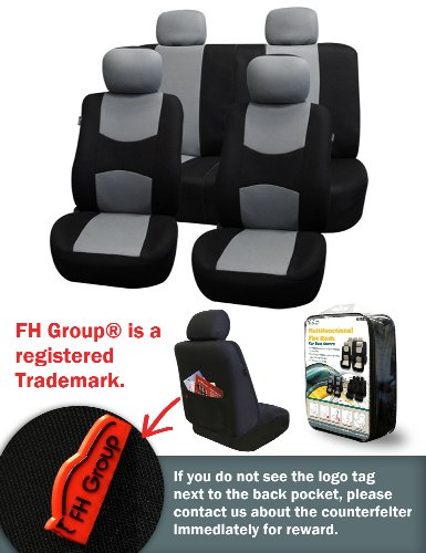 Fh-Fb051114 Multifunctional Flat Cloth Car Seat Covers, Airbag Compatible And Split Bench, Gray / Black Color
