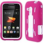Hot Pink White HyBrid HyBird Rubber Soft Skin Kickstand Case Hard Cover Faceplate with Stand For Samsung Galaxy Rush M830 with Free Pouch