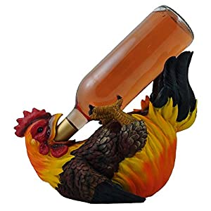 Drinking Rooster Wine Bottle Holder Statue
