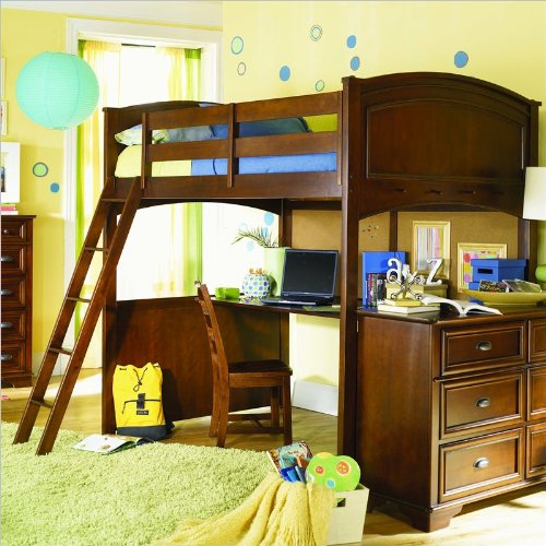 Lea Deer Run Loft Bunk Bed With Desk And Nightstand In Brown Cherry Finish front-808294