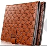 Premium Quality Luxury Brand Designer Look PU Leather Folio/ Magnetic Smart Case Cover with Flip Stand, Built-in Wallet, Elastic Hand Strap and Full Wake/Sleep Compatibility for Apple iPad mini 1 2, iPad 2 3 4 (iPad 2 3 4, Light Brown)