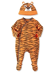 Pure Cotton Tiger Sleepsuit with Hat