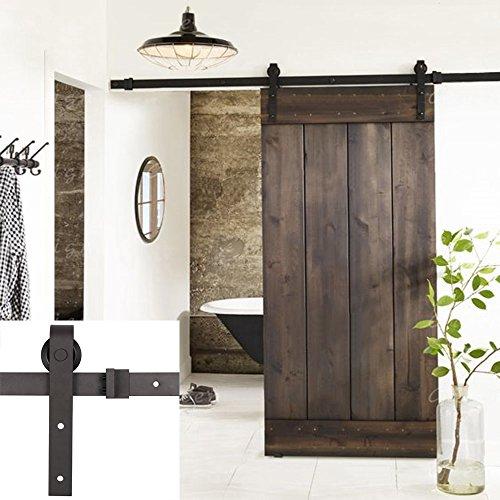 Erfect 6.6 FT Antique Style Barn Door Hardware Sliding Set Wood Door Track Kit Black(
