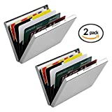 Metal Credit Card Wallet, URAQT Stainless Steel RFID Credit Card Holder, Metal Credit Card Case Protector Wallet for Women or Men with 6 PVC Slots (Silver, 2 Pack) (Color: 2 Pack)