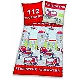 Herding 445172050 Bettwäsche Feuerwehr, Kopfkissenbezug: 80 x 80 cm + Bettbezug: 135 x 200 cm, 100 % Baumwolle, Renforce