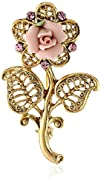 1928 Jewelry Gold-Tone Pink Crystal a…