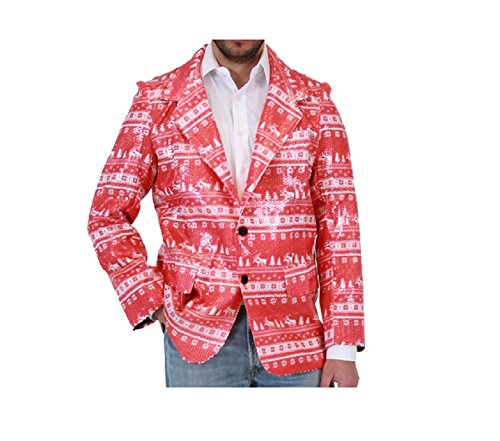 Sequin Humping Reindeer Red Ugly Christmas Suit Jacket