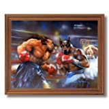 Puppy Dogs Boxing Ring Kids Room Home Decor Wall Picture Oak Framed Art Print