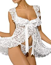 iB-iP Womens Royal Complex Lace Straps Chemises Lingerie, Size: XL, White