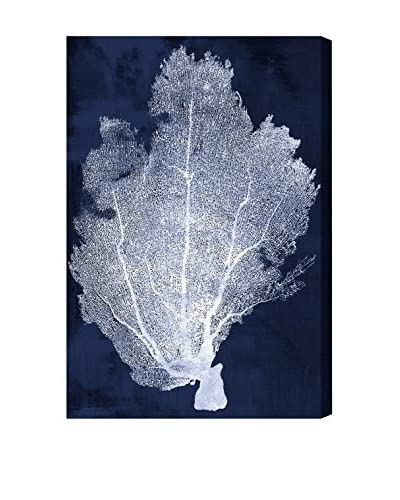 Oliver Gal Coral Fan Cyanotype 2 Canvas Art