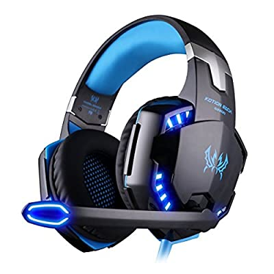 Gaming Headphones USB 7.1 Surround Sound Vibration Over-Ear Gaming Headset Headphones with Led lights Professional Gaming Headset for Computer PC Gamer (Black+blue)