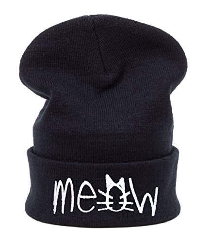 Inverno cappello vuqzivg MEOW Bad Hair Day HATS Fashion per sci e Snowboard Morefazltd Cap meow black Taglia unica