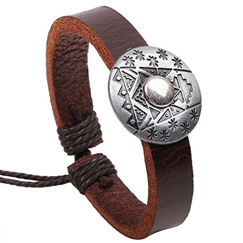 Desklets Boys / Girls Handmade Vintage Braided Leather Wax Rope Elegant Alloy Charm Bracelets(Shields3)