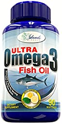 Omega 3 Fish Oil 2,600mg Maximum Strength Pills With Lemon Oil For No Fish Burps or Aftertaste 650mg DHA + 860mg EPA Molecularly Distilled Triglycerides & Best Fatty Acid Supplements - 90 Capsules
