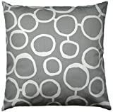 JinStyles Cotton Canvas Circle Accent Decorative Throw Pillow Cover (Grey & White Square, 1 Cover for 18 x 18 Inserts)
