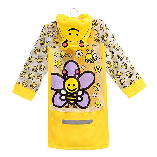 [Ezyoutdoor Unisex Kids Yellow Children Hooded Raincoat Rain Jacket Poncho with School Bag Cover Children Raincoat Cartoon Poncho,Cute Bee] (Super Mario Flower Power Costume)