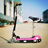 ELECTRIC E SCOOTER WITH SEAT 120W E-sccoter 12V BATTERY Ride On Toys (Pink)