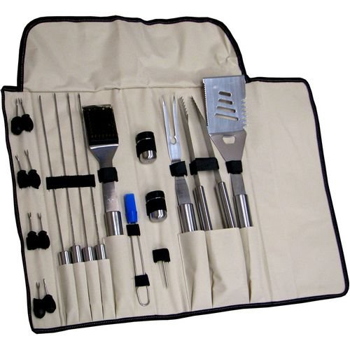Schrade Schbbq2 Bbq Kit Royal Red, Black, And White Canvas Case