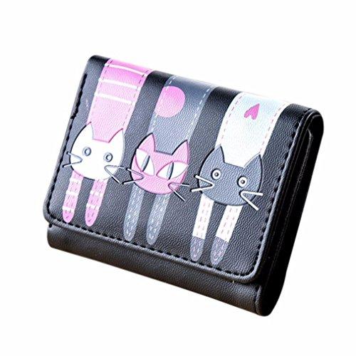 Portafoglio Clode® Donne Cat Modello Della Borsa Della Moneta Titolari Breve Portafoglio Carta Borsetta (Colour : Nero)