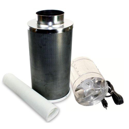 VenTech VT DF6+CF6 Inline Duct Blower Exhaust Fan Carbon Filter Kit, Combo B, 240 CFM, 6
