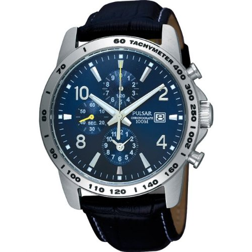 Pulsar Sports Chronograph Blue Dial Black Leather Strap Gents Watch PF8393X1