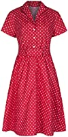 Womens 1940's Retro Vintage Style Red Polka Dot Belted A-Line Shirt Dress