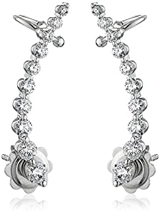 14k White Gold Shared 2- Prong Attachable Diamond Loop Earrings (1cttw, I-J Color, SI2-I1 Clarity)