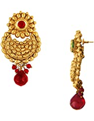 Traditional Ethnic Red Flower Gold Plated Dangler Earrings With Crystals For Women By Donna ER30068G