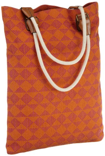 Echo Design Women's Diamond Woven Beach Bag, Hot Viola/Tangerine, One Size