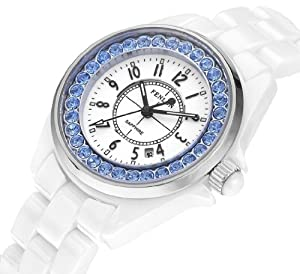 Fenlon Women's White Ceramic Link Bracelet Watches Blue Crystal Watch