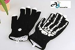 A&S Creavention® RaveGlove 7 Mode LED Rave Light Finger Lighting Flashing Glow Gloves (Skeleton)