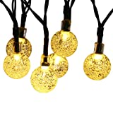 Qedertek Globe Outdoor Solar String Lights, 20ft 30LED Fairy Bubble Crystal Ball Lights Decorative Lighting for Indoor, Garden, Home, Patio, Lawn, Party and Holiday Decorations(Warm White)