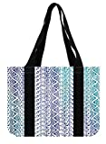 "PRANO Women's Canvas Aztec Gradient Color Blue Tote Bag,Size: 14.4"" x 10.4"" x 4.3"""