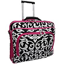 Ladies DAMASK with Pink Trim Rolling 15.5 Inch Computer Laptop Bag Brief Case