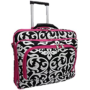 a9fabc5a4822 Purchase! Ladies DAMASK with Pink Trim Rolling Computer Laptop Bag ...