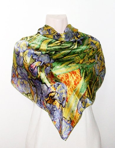 Satin Oil-Painted Irises Print - Silk Square Scarf 35 x 35