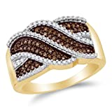 10K Yellow Gold Chocolate Brown & White Round Diamond Fashion Ring - Channel Setting (1/3 cttw.)