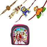 Frabjous Combo of Designer Rakhi Set For Brother, Sister (4 pcs) with School Bag