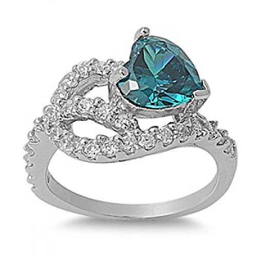 Sterling Silver Cubic Zirconia Ring - Heart