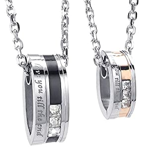 Konov Jewellery 2pcs Lovers Mens Womens Love You Till Be The End CZ Stainless Steel Pendant Love Necklace Set, Couples Valentine's Gift for Him Her, Colour Black Gold Silver, with 18 22 inch Chain