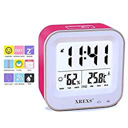 Table Clock,XREXS Digital Desk Alarm Clock with Month / Week / Day / Humidity / Temperature (C / F) Display,Rechargeable,Backlight,Electronic Clock for Kids /Teens / Girls / Heavy Sleepers (Pink)