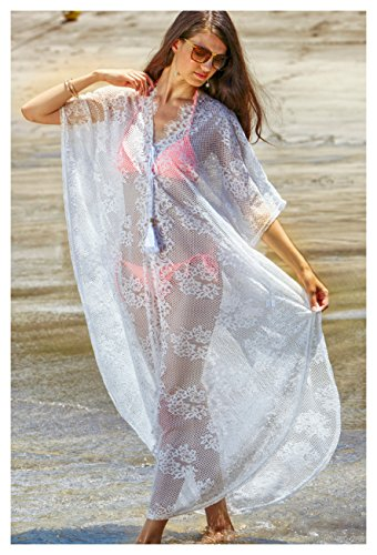 63b10787b8 MG Collection® White Lace Long Swimsuit Cover Up Beach Dress w  Bell Sleeves