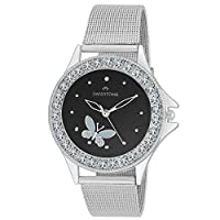 Swisstone Crystal Studded Steel Chain Black Dial Watch for Women/Girls VOGLR501-BLK-CH