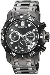 Invicta Men's 'Pro Diver' Quartz Stainless Steel Automatic Watch, Color:Black (Model: 21926)