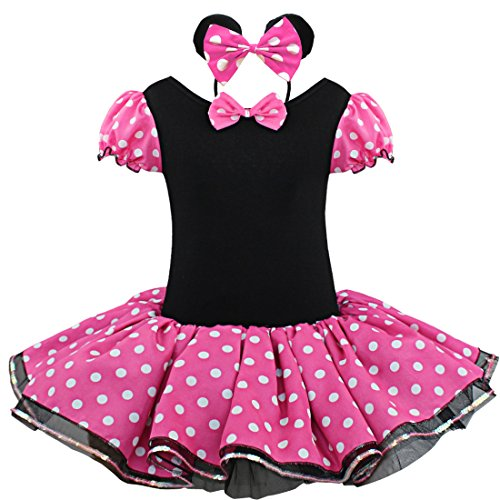 [FEESHOW Baby Girls' Polka Dots Party Costume Fancy Tutu Dress Up with Headband (5-6, Hot Pink)] (Halloween Costumes With Pink Hair)
